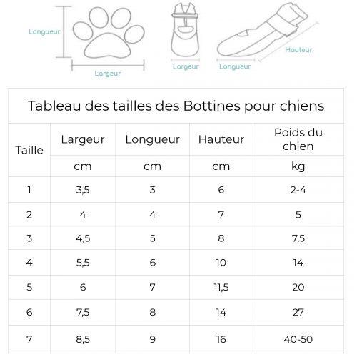 tableau des tailles bottines pour chiens - 2020